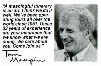 1984 Maupintour Ad, Tom Maupin picture and quote