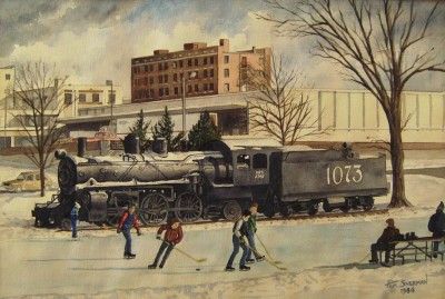 Central (Watson) Park, Lawrence, Kansas, Original watercolor, by Tom Sherman, 1984