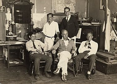 aymond Eastwood, Edwin Dickinson, Charles Hawthorne, John R. Frazier, and Dr. H.T. Tracy at Dickinson's Pearl St. studio, ca. 1930