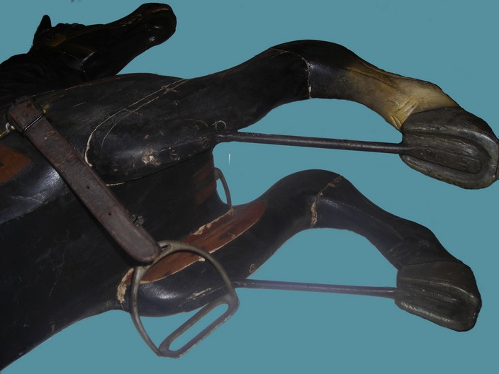 Armitage-Herschell carousel horse, circa 1898, front leg support view