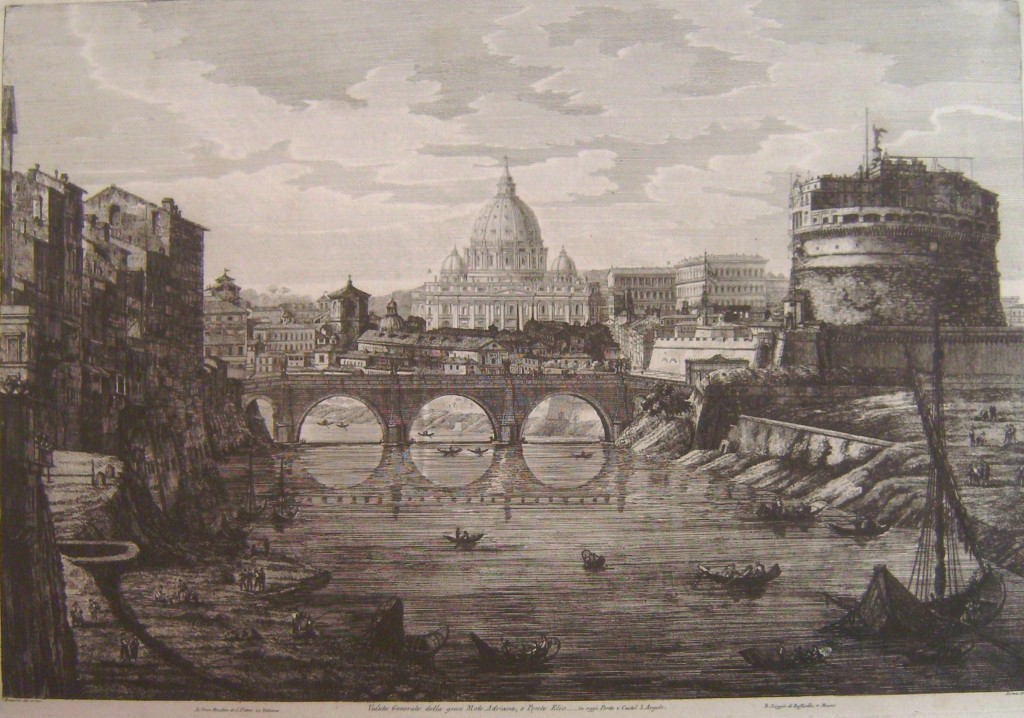 Rossini Engraving, 1823, Rome, View of St Peters from Castel St Angelo
