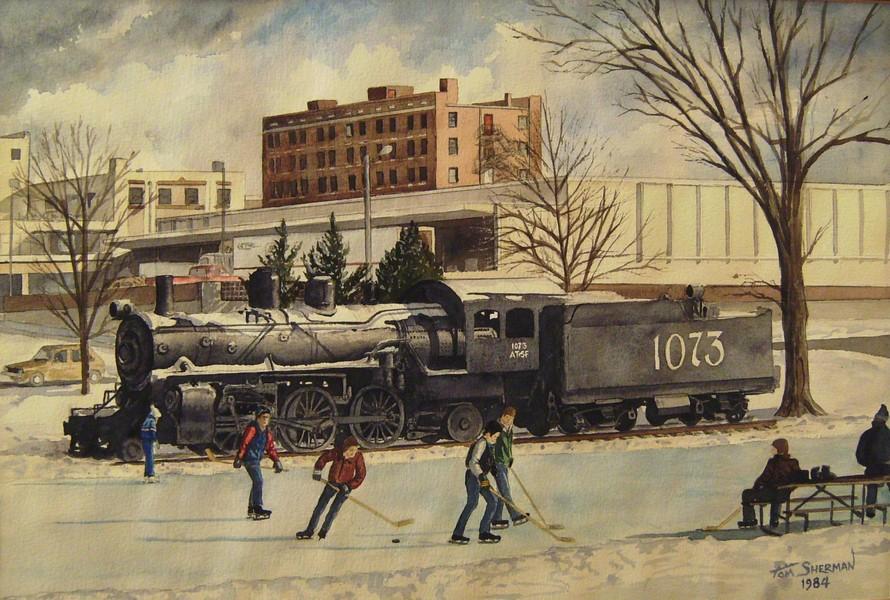 Central (Watson) Park, Lawrence, Kansas, Original watercolor, by Tom Sherman, 1984.jpg