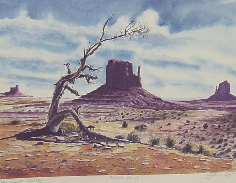 Louis Copt, 1986 prints artists proofs of original watercolor, Monument Valley, hand signed, 14 x 17, quality paper.jpg
