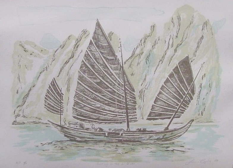 Louis Copt, 1988, Junking on the Li River, hand signed Artist's Proof Print Nbr 6 of 7, 11 in x 15 in, hand torn with Printers Mark.jpg